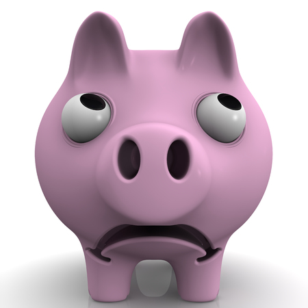 protruding eyes: Sad pig piggy bank with bulging eyes on white surface. Front view