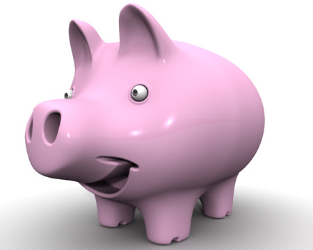 protruding eyes: The cheerful pig piggy bank on white surface