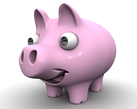 protruding eyes: The cheerful pig piggy bank with bulging eyes on white surface