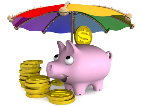 protruding eyes: Secure financial savings. Concept