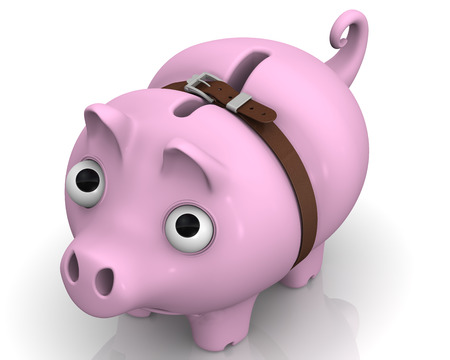 protruding eyes: Pig piggy bank in times of economic crisis
