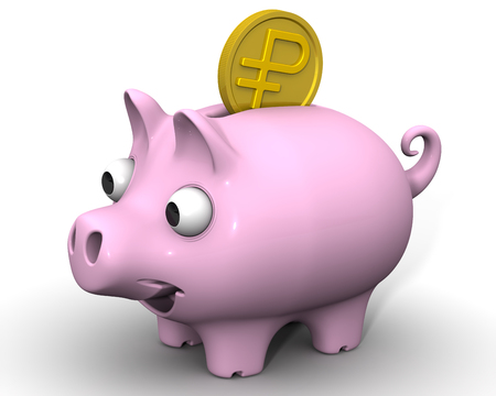 protruding eyes: Pig piggy bank with a coin Russian ruble