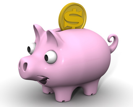 protruding eyes: Pig piggy bank with a coin of the US dollar