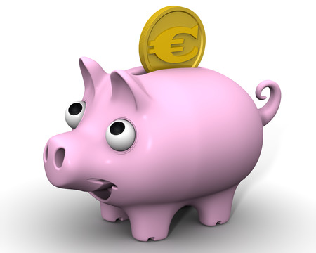 protruding eyes: Pig piggy bank with euro coin Stock Photo