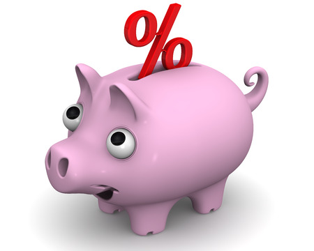 protruding eyes: Pig piggy bank with a percent sign Stock Photo