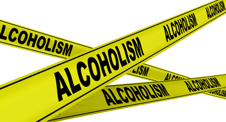 alcoholism: ALCOHOLISM. Yellow warning tapes Stock Photo