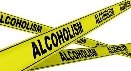 alcoholismo: ALCOHOLISMO. Cintas de advertencia amarillas Foto de archivo