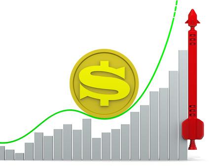 volatility: El crecimiento del d�lar estadounidense. Concepto Foto de archivo