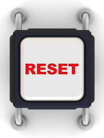 contacting: Electronic button with a red inscription RESET on a white surface Stock Photo