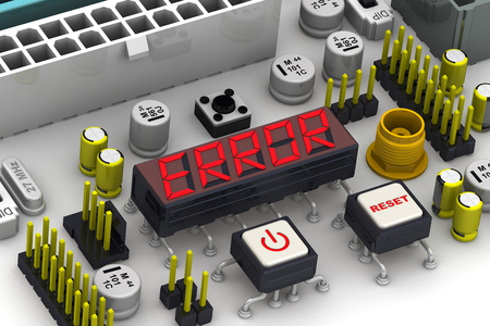 malfunction: ERROR. The message on the display electronic circuit board Stock Photo