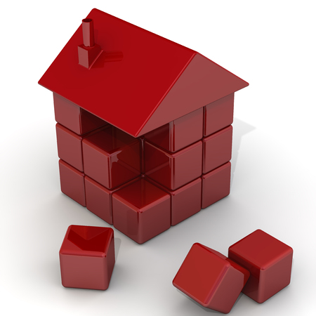 house building: House of red cubes