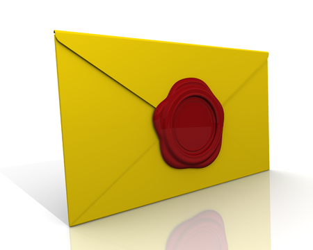 sealed: Yellow envelope sealed with a wax seal on a white surface