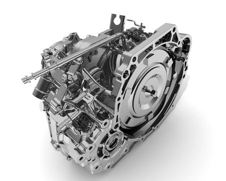 Automatisches Getriebe eines Fahrzeugs auf einer weißen Oberfläche. Isoliert Standard-Bild - 46984649