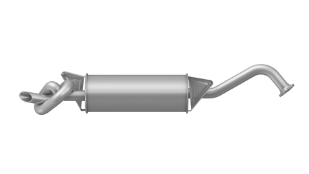 reducing: Silencer of exhaust gases of the car tied in a knot. Isolated. The concept of reducing emissions