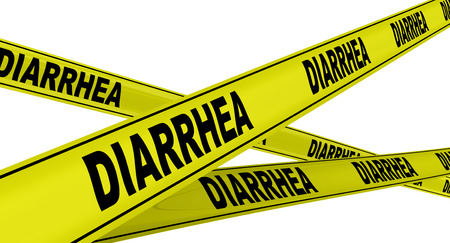 diarrea: DIARREA. cintas de advertencia de color amarillo Foto de archivo