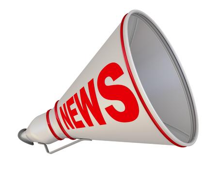 resonator: Red inscription NEWS on the gray horn