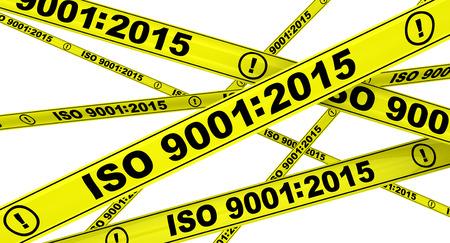 ISO 9001: 2015 gelbe Warnbänder Standard-Bild - 46984728