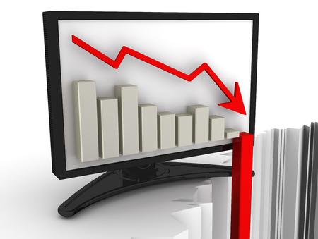 derrumbe: Gr�fico de la r�pida ca�da en el monitor. Concepto de crisis financiera. El colapso de los indicadores econ�micos. La ilustraci�n en tres dimensiones Foto de archivo
