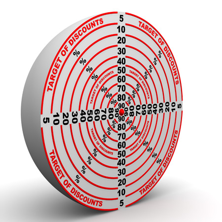 price cutting: Red target of discounts on white surface. The three-dimensional illustration Stock Photo