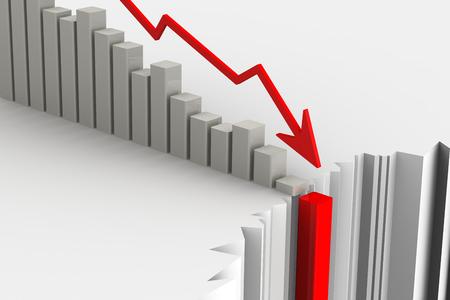 derrumbe: Gr�fico de la r�pida ca�da. Concepto de crisis financiera. El colapso de los indicadores econ�micos. La ilustraci�n en tres dimensiones