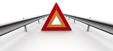 carriageway: Emergency stop sign of a vehicle on the carriageway. The three-dimensional illustration. Isolated