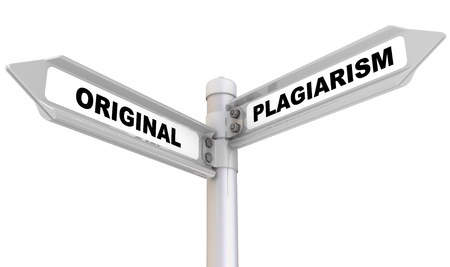 plagiarism: Original and plagiarism. Road sign