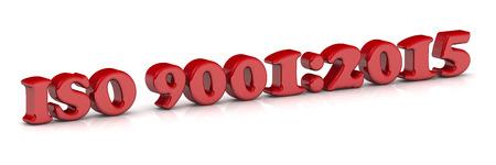 """Red Aufschrift """"ISO 9001: 2015"""" auf einer weißen Fläche Standard-Bild - 46983901"""