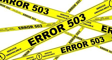 malfunction: ERROR 503. Yellow warning tapes Stock Photo