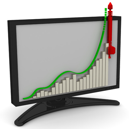 volatility: Chart of rapid rise in the monitor. The three-dimensional illustration