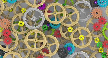 compiled: Background image with gears and cogwheels of different sizes. Illustration. Technologies and mechanism