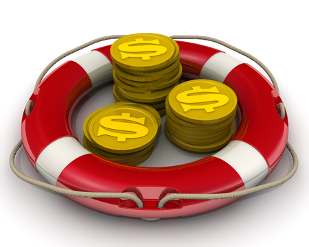 The concept of salvation financial savings. Coins with the symbol of the American dollar