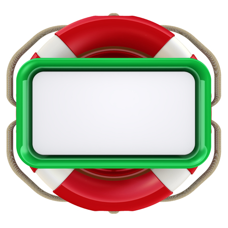 belay: Text field in lifebuoy isolated on white background