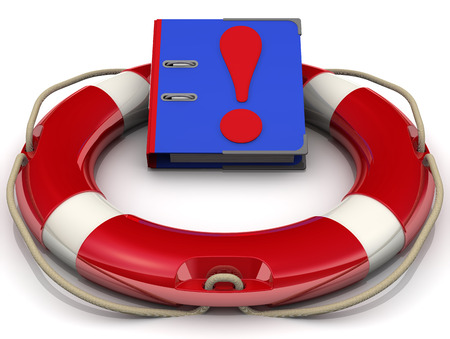 lifeline: Blue folder with an exclamation point in the lifeline. Isolated Stock Photo