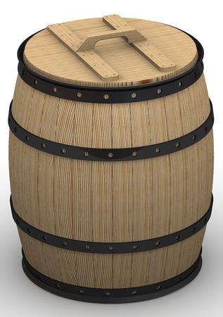 encurtidos: tina de madera para las salmueras Foto de archivo