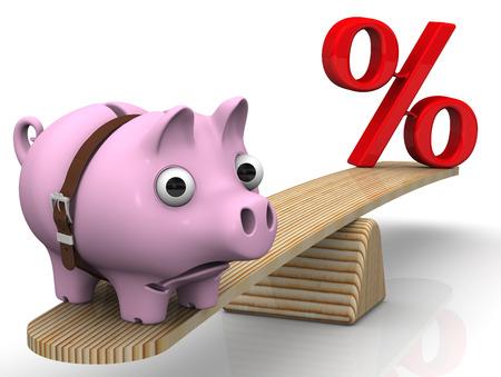 interest: Unprofitable interest rates. Financial concept
