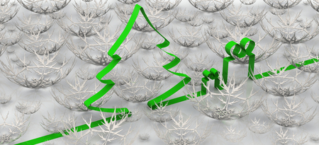 fir  tree: New Year background with fir tree, gifts and snowflakes