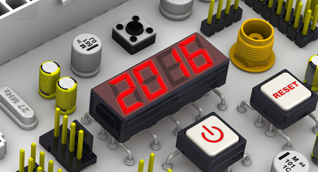 fiestas electronicas: Red 2016 message on the electronic display of circuit board