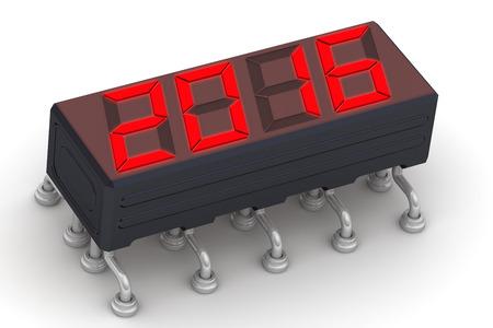 """fiestas electronicas: Mensaje de Red """"2016"""" en la pantalla electrónica Foto de archivo"""
