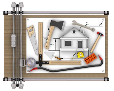 Construction de maisons Concept Banque d'images - 49729390
