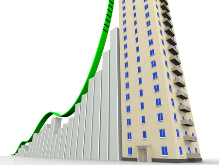 housing prices: The graph of growth and the multi-storey residential house Stock Photo
