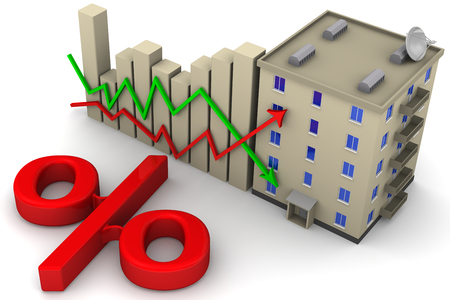 fluctuations: The concept of change in interest rates on mortgages. Stock Photo
