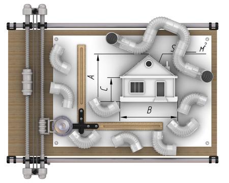 Berechnung der Belüftung des Hauses Standard-Bild - 49948494