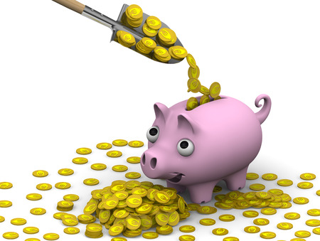 gold shovel: Shovel fills a pink pig-piggy bank with gold coins with the symbols of euro
