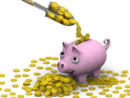 gold shovel: Shovel fills a pink pig-piggy bank with gold coins with the symbols of the Russian ruble