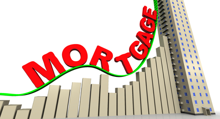 mortgage rates: The graph of growth of mortgage rates Stock Photo
