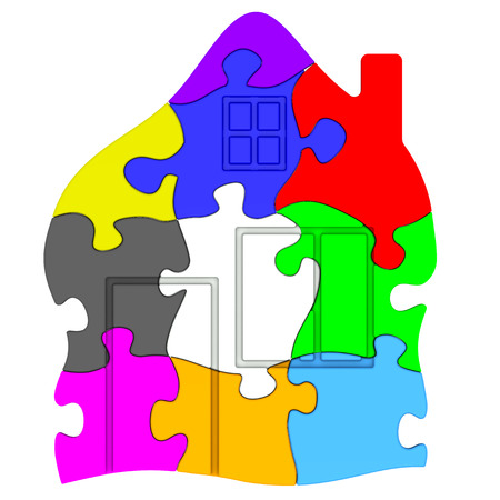 compiled: Symbol of house made from colorful puzzles