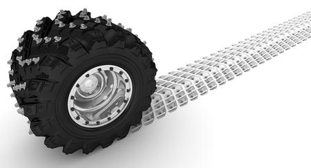 tire tread: Car wheel leaves a trail