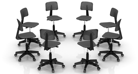 lined up: Office chairs lined up in a circle