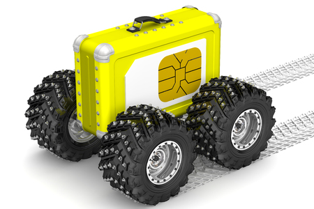 tire imprint: SIM-card for travel Concept Stock Photo