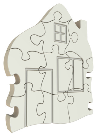 compiled: Symbol of house made from puzzles